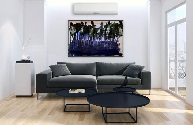 pièce à vivre avec climatisation murale