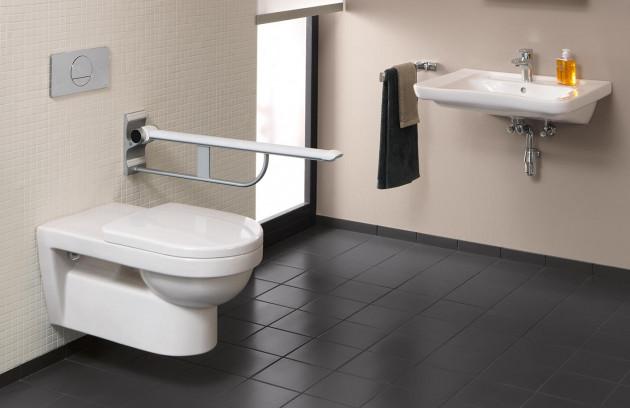 Une barre d'appui latérale - WC suspendu long PMR