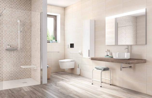 Les zones de transfert dans une salle de bains pour handicapés - Le transfert séparé