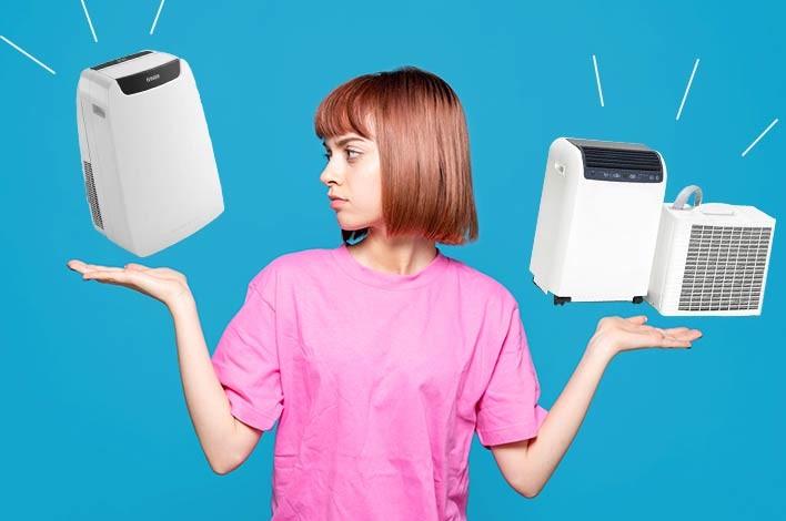 jeune femme partagée entre le climatiseur mobile split et le monobloc
