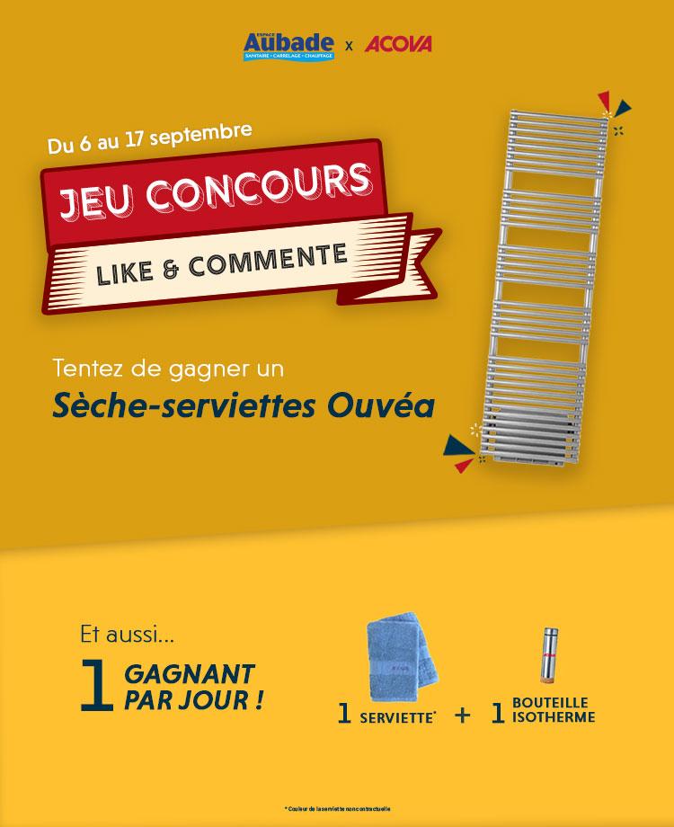 Slider du jeu concours pour gagner le sèche-serviettes Acova Ouvéa
