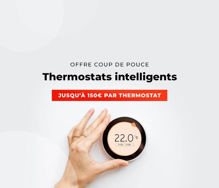 visuel commercial mettant en avant une personne effectuant le réglage de son thermostat