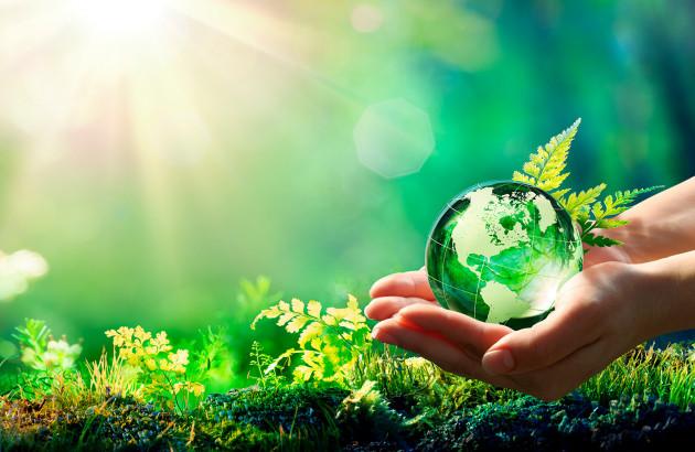 deux mains portant une bulle d'eau représentant la terre et la nature