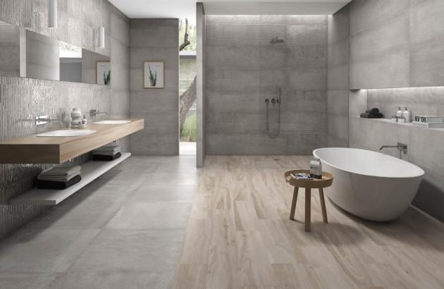 Salle de bains carrelage imitation bois et béton