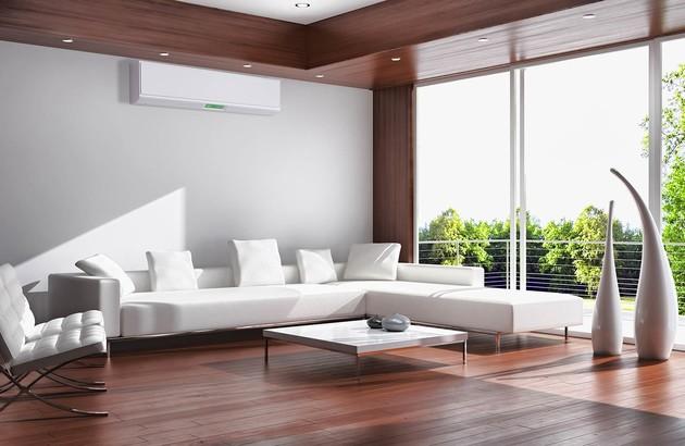 visuel d'ambiance d'un salon avec une unité de clim murale