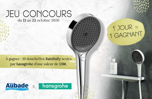 Jeu Concours: 10 douchettes Rainfinity hansgrohe à gagner