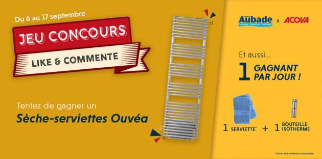 Jeu Concours: 10 lots de serviettes et bouteilles isothèmes + 1 Sèche-serviettes Ouvéa Acova