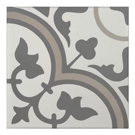 Décor Bati-Orient Inspiration Ciment Blanc Cassé, Gris Foncé, Gris Clair