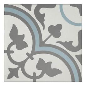 Décor Bati-Orient Inspiration Ciment Blanc Cassé, Gris Foncé, Bleu