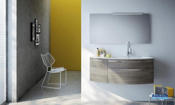 meuble sous vasque et miroir coloris grigio fumé Stocco Vela