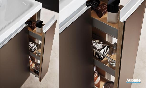 meuble Smart 1 porte et 1 tiroir flaconnier Smart de Decotec verre platinium