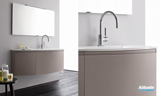 meuble sous vasque et miroir coloris marbre Stocco Vela
