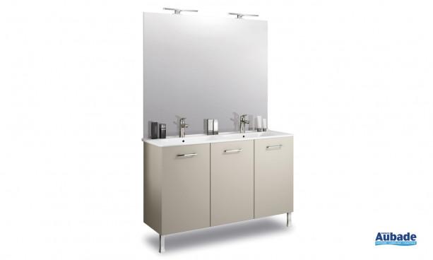 Meubles bas 3 portes et double vasque en céramique Delpha ProCERAM Express 124
