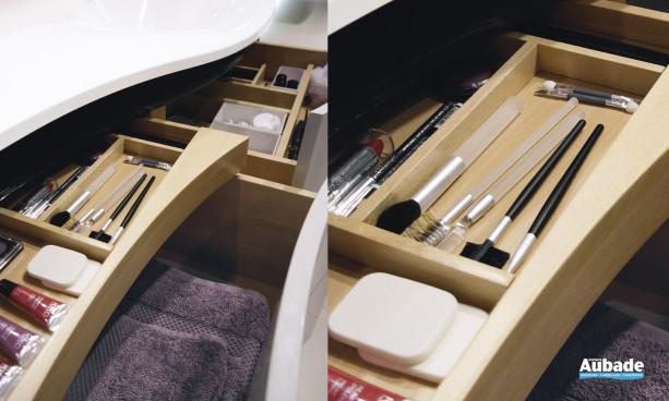 meuble salle de bains maestro decotec, finition laque blanc brillant / blanc brillant