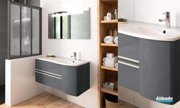 meuble salle de bains cosy gris anthracite brillant