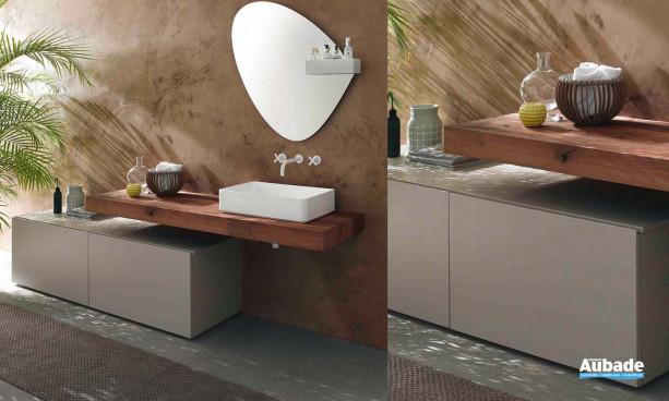 Meuble de salle de bain, console en bois et vasque en minéralmarbre
