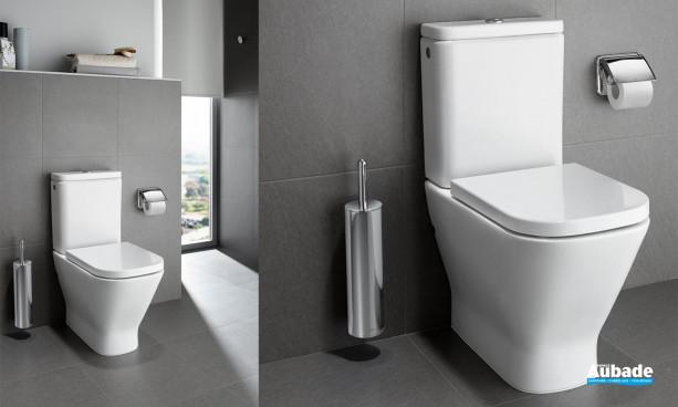 WC Clean-Rim The Gap équipé d'une cuvette compacte à évacuation duale, sans bride de Roca