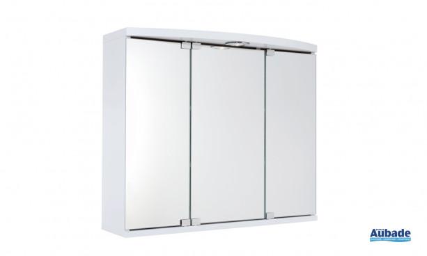 Armoire de toilette tendance Maxi de Decotec comportant 3 porte miroir, 2 tablettes, éclairage halogène