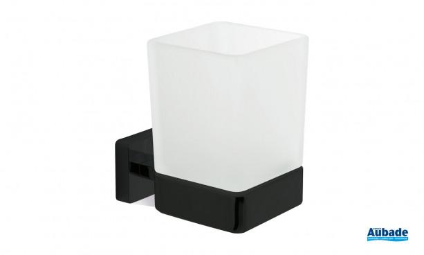Porte verre à fixer noir mat Cubo de Inda