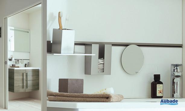 Meuble coloris mélaminé chêne gris, avec miroir de Sanijura