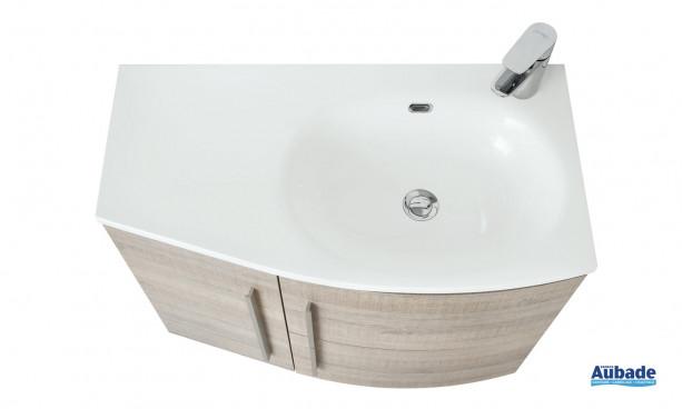 Table en marbre de synthèse vasque blanc brillant à droite