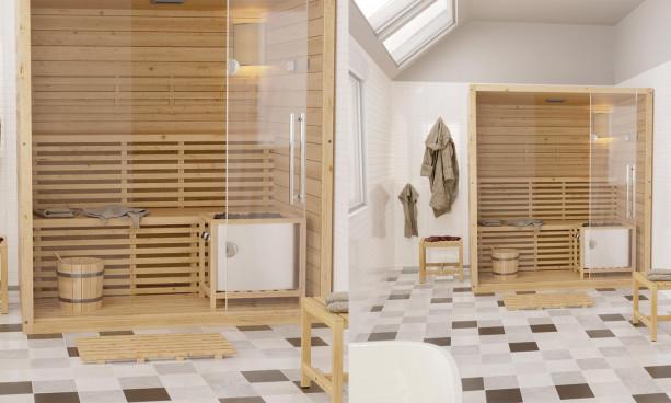 Sauna Québec, 2 bancs avec dossier