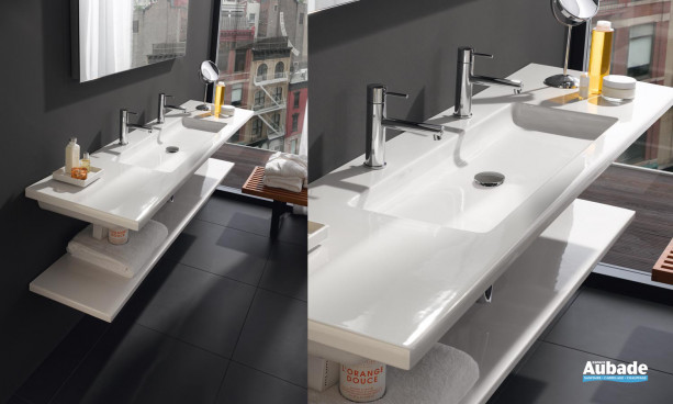 lavabo plat en céramique de Laufen, collection Living Style