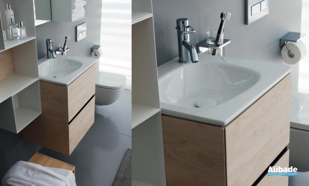 meuble sous lavabo finition Chêne clair 2 tiroirs collection Palomba de Laufen