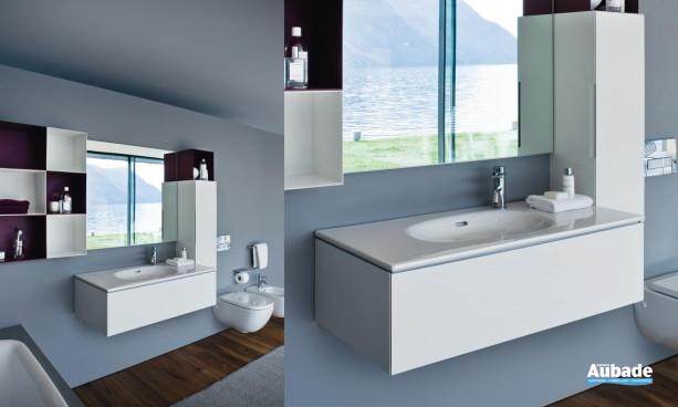 lavabo à poser, meuble aluminium et armoire Palomba de Laufen