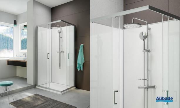 Cabine de douche intégrale Moorea avec porte coulissante version Avantage de la marque Hoesch by Leda