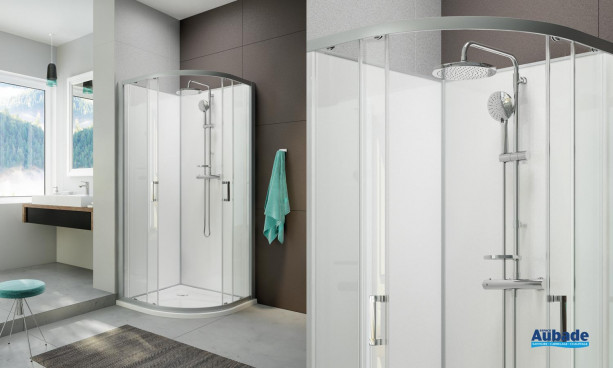Cabine de douche intégrale Moorea 1/4 de rond coulissant version Avantage par Hoesch by Leda