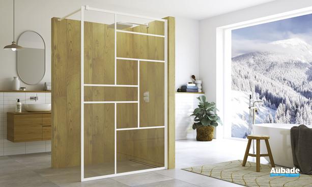 Walk-in avec covering Loft 73 coloris blanc mat par SanSwiss