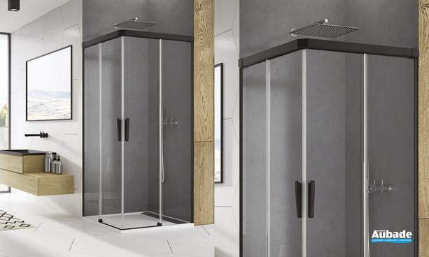 Paroi accès d'angle coulissant Ophalys finition profilé noir mat et verre transparent par SanSwiss