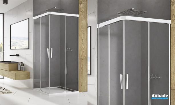 Paroi accès d'angle coulissant Ophalys finition profilé poli brillant et verre transparent de SanSwiss