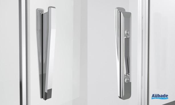 Poignée paroi de douche avec portes battantes Ophalys finition profilé poli brillant par SanSwiss
