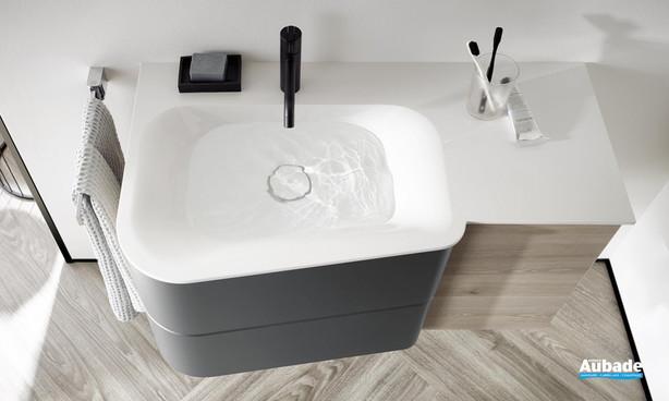 Zoom Meuble de salle de bain Badu finition thermoformé Chêne, décor Flanelle de Burgbad