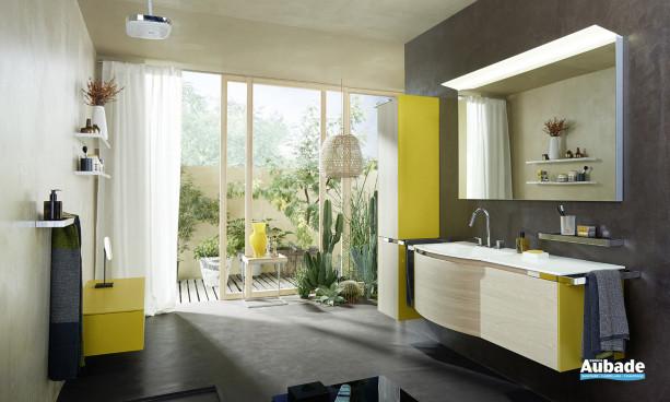 meuble sous vasque Burgbad Yso avec les façades laquées blanc mat