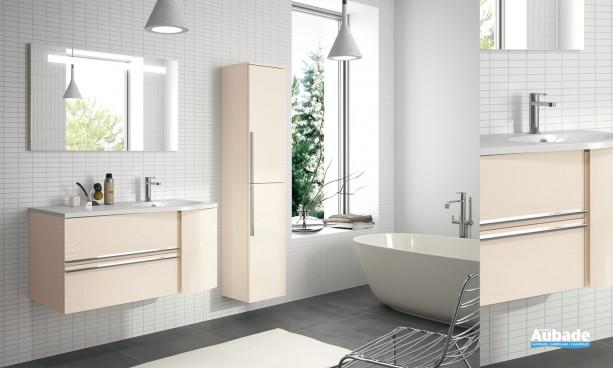 meuble salle de bains cosy laqué beige brillant