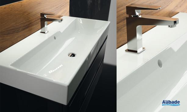 Plan vasque monobloc céramique meuble salle de bain decotec élysée