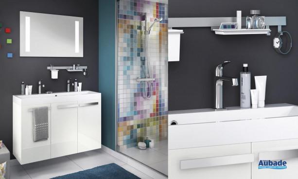 ensemble plan moulé couleur blanc brillant et meuble bas 3 portes façades blanc brillant Delpha Studio S105C