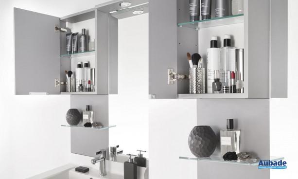 meuble salle de bains delpha, meuble haut avec dosseret et étagère en verre