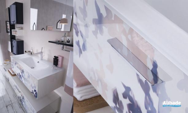 Plan vasque en verre blanc brillant du meuble Unique Impression Envol
