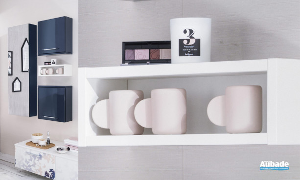 Demi-colonne laque outremer brillant porte miroir du meuble Unique Impression Envol