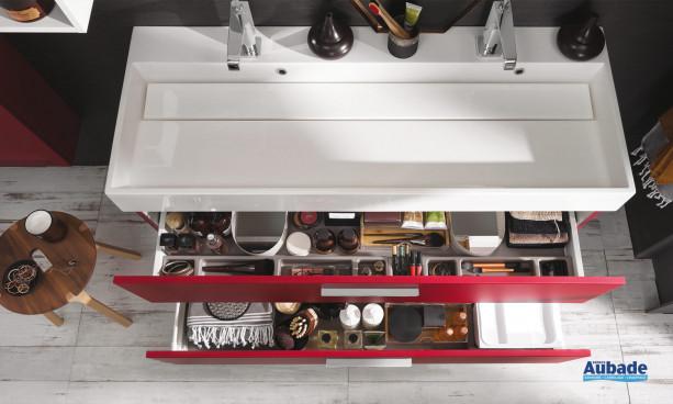 tiroir meuble sous vasque unique laque soft