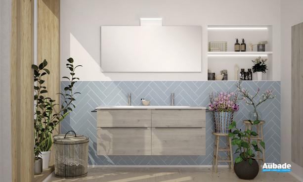 Meuble de salle de bains style 2 avec 2 niveaux coloris mélaminé chêne flanelle de la marque Burgbad
