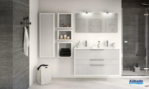 Meuble 2 coulissants et 1 tiroir Ultra Cadra coloris gris tissé structuré et corps de meuble Blanc brillant de Delpha