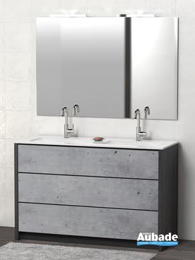 Meubles avec plan double vasque Charme coloris caisson lucerne et façade béton par Lido