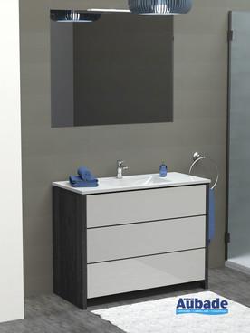 Meubles avec plan vasque centré Charme coloris caisson lucerne et façade blanc brillant par Lido
