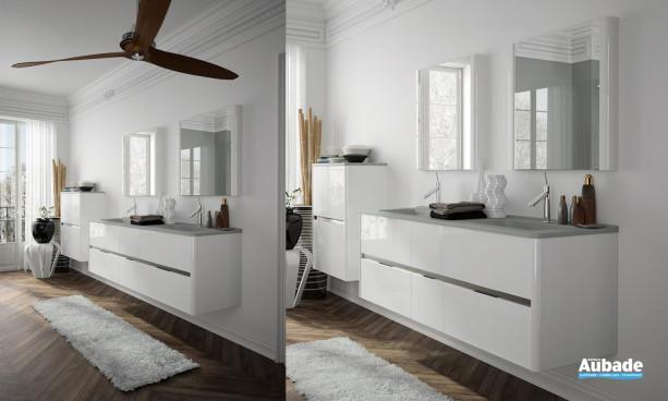 ensemble meuble sous-vasque couleur Blanc, miroirs montants et meuble demi-colonne double Ambiance Bain Dolce