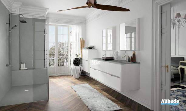 ensemble Dolce de Ambiance Bain avec meuble sous-vasque 6 tiroirs, miroir et double colonne double, couleur Blanc